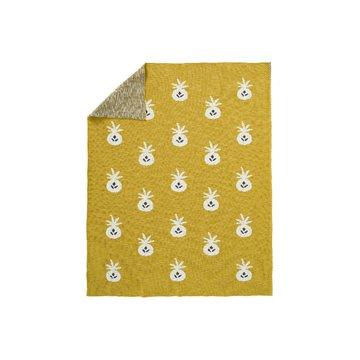 Fresk Tkany kocyk z bawełny organicznej 100 x 150 cm Ananas Mustard FRESK