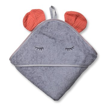 Hi Little One - Ręcznik z kapturem 100 x 100 MOUSE hooded bath towel Salmon