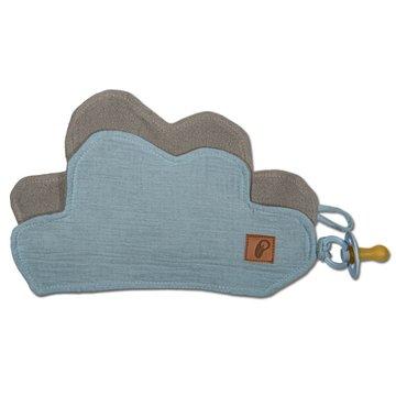 Hi Little One - Przytulanka muślinowa dou dou z zawieszką na smoczek cozy muslin pacifier clip Cloud Baby blue