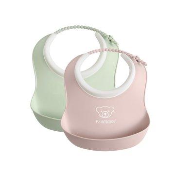 BABYBJORN - 2 małe śliniaczki Powder Green/ Powder Pink