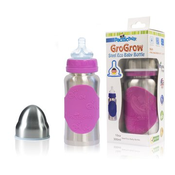 Butelka ze smoczkiem Pacific Baby GroGrow 300 ml - Silver Pink