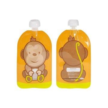 Fill n Squeeze - Saszetki wielorazowe z podwójnym zipem 6 szt., Wesoła Małpka, Fill'n Squeeze