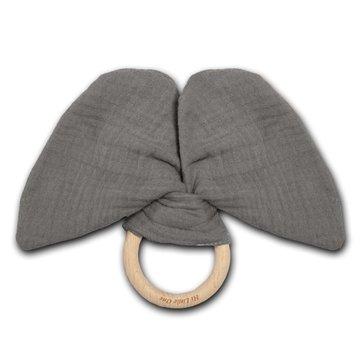 Hi Little One - szeleszczący gryzak Elephant muslin with wood teether Iron