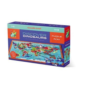 Crocodile Creek® - Puzzle odkrywcy z książeczką i figurkami – Dinozaury