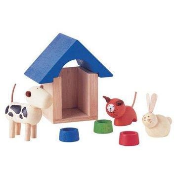 Drewniane zwierzątka domowe z akcesoriami do domku dla lalek, Plan Toys®