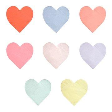 Meri Meri - Duże serwetki Serce pastelowe