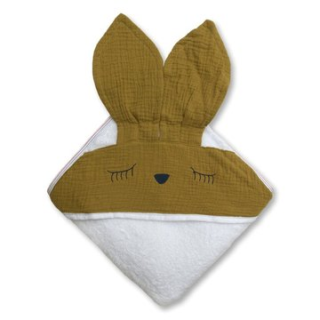 Hi Little One - Ręcznik z kapturem 100 x 100 SLEEPY BUNNY hooded bath towel Olive