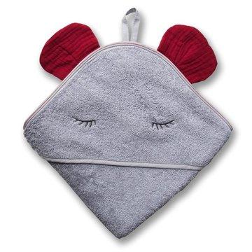 Hi Little One - Ręcznik z kapturem 100 x 100 MOUSE hooded bath towel Strawberry