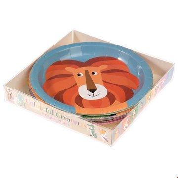 Talerzyki papierowe 8 szt., Kolorowe Zwierzaki, Rex London