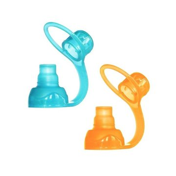ChooMee SoftSip 2 PACK Aqua/Orange Uniwersalny ustnik silikonowy do saszetek pokarmowych