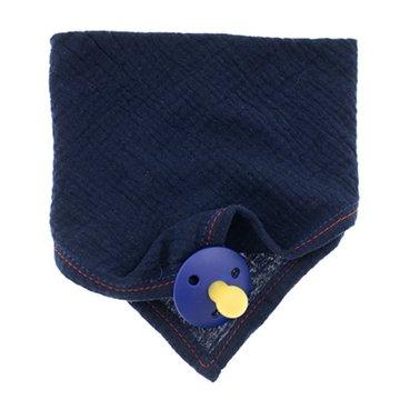 Hi Little One - Śliniak muślinowy bandana z zawieszką na smoczek muslin bandana bibs with pacifire holder Navy