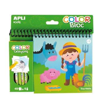 Kolorowanka z kredkami Apli Kids - Farma