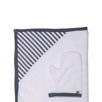 Baby Bites Ręcznik z kapturkiem 85 x 85 cm + myjka Sailor Blue BABY BITES