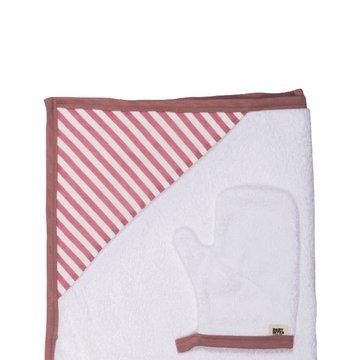 Baby Bites Ręcznik z kapturkiem 85 x 85 cm + myjka Sailor Pink BABY BITES