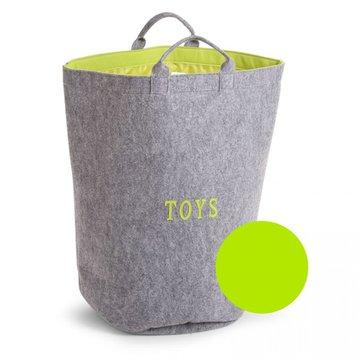 CHILDHOME - Filcowa torba na zabawki szary/limonka z uchwytami