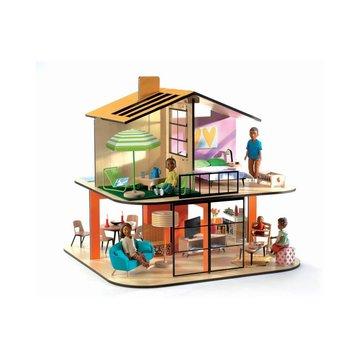 Djeco - Drewniany domek dla lalek KOLOROWY DOM DJ07803