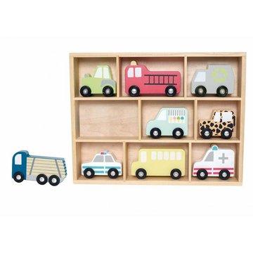 Drewniane pojazdy - zestaw aut z półką,  JABADABADO JaBaDaBaDo