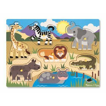 Melissa&Doug® - Melissa, Drewniana układanka z uchwytami – Safari