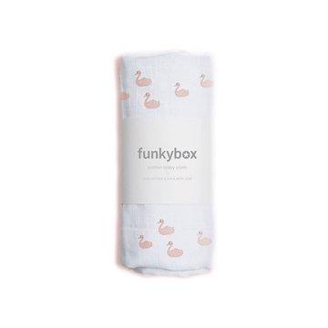 Funkybox - Pieluszka Bawełniana 70x70, Pink Swan, 0m+