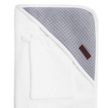 Bamboom - Ręcznik Bambusowy z Kapturkiem + Myjka, Biały i Popielaty, 0m+
