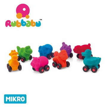Rubbabu Zestaw 8 sensorycznych zwierzątek-pojazdów mikro