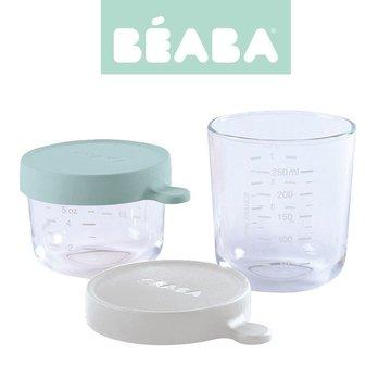 BEABA Zestaw pojemników słoiczków szklanych z hermetycznym zamknięciem 150 + 250 ml airy green i light mist Beaba