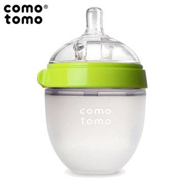 COMOTOMO - antykolkowa butelka silikonowa 150 ml Green NEWBORN