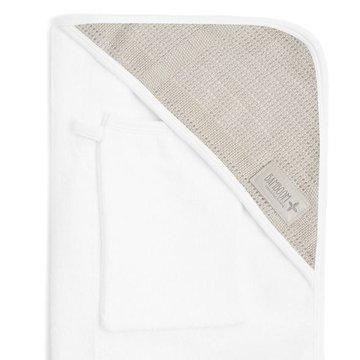 Bamboom - Ręcznik Bambusowy z Kapturkiem + Myjka, Biały i Beżowy, 0m+