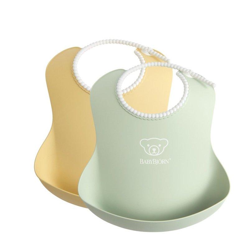 BABYBJORN - 2 śliniaki -  Powder Yellow/ Powder Green