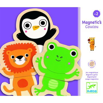 Djeco - Puzzle 2 -ele. drewniane magnet. Dungla DJ03118