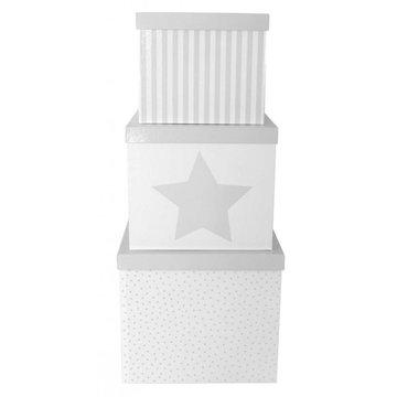 JaBaDaBaDo - Pudełka szara gwiazdka duże 3szt