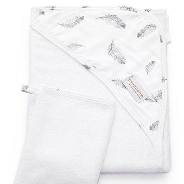 Bamboom - Ręcznik Bambusowy z Kapturkiem + Myjka, Feather, 0m+