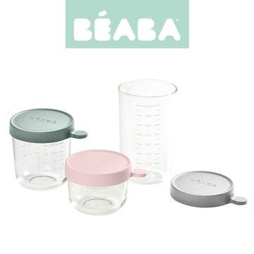 BEABA Zestaw pojemników słoiczków szklanych z hermetycznym zamknięciem 150 + 250 + 400 ml pink, eucalyptus green i light mist Be