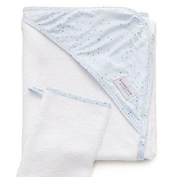 Bamboom - Ręcznik Bambusowy z Kapturkiem + Myjka, Blue Mini Dots, 0m+