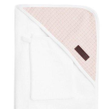 Bamboom - Ręcznik Bambusowy z Kapturkiem + Myjka, Biały i Różowy, 0m+