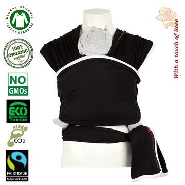With a touch of Rose Sling Organiczna Chusta do Noszenia Black White