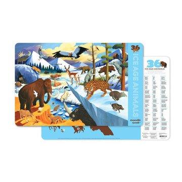 Crocodile Creek® - Podkładka, motyw 36 zwierząt epoki lodowcowej, Crocodile Creek 2843-8